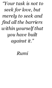 """Your task is not to seek for love, but merely to seek and find all the barriers within yourself that you have built against it.""       Rumi"